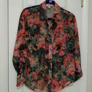 Decree floral sheer top